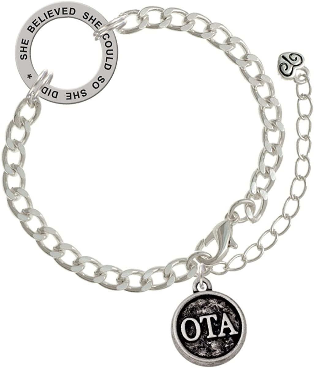Dove Disc Nevertheless She Persisted Delicate Bar Bracelet
