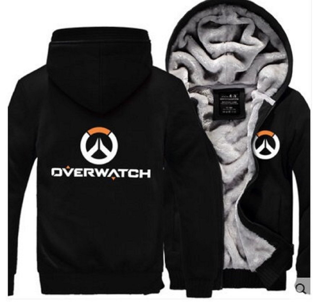 Cosfunmax OW Hoodie Sweatshirt Cosplay Fleece Sweatshirt Plus Velvet Hoody Coat Jacket XL