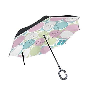 MAILIM Paraguas Reversible para Coche, Diseño de Flores, Doble Capa, con Mango en