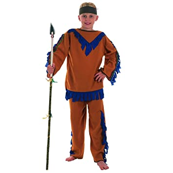 FANCY DRESS COSTUME = BOYS INDIAN BRAVE BOY AGE 5-7