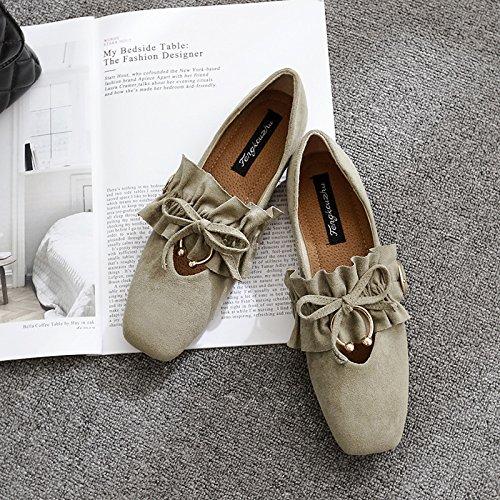 Solo Casual Planos Cuero Zapatos Mujer Zapatos la con Xue Cuatro Cuadrada de Calzado Qiqi Cabeza luz Mujeres Caqui Satin Zapatos Pajarita Plano Txw4t