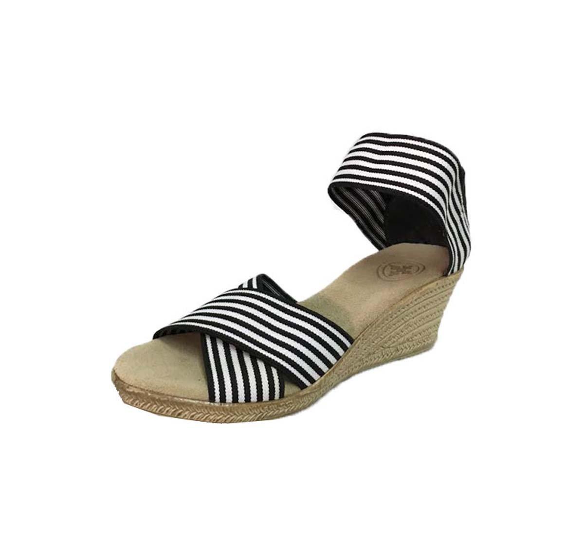 Cannon Criss-Cross Espadrille Wedge Sandal by Charleston Shoe Co. B07DRC15JS 8 B(M) US|Black Striped