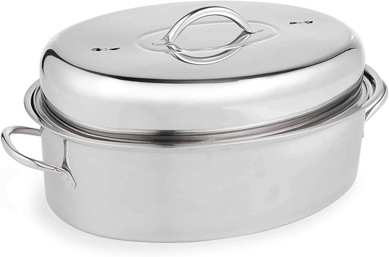 VonShef Stainless Steel Lidded Roasting Pan, Lightweight Roaster Extra Large Dish for Chicken Turkey Meat Joints Vegetables, 9.5 Quart Capacity