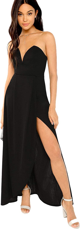 Verdusa Women's Bandeau Off Shoulder Flared Party Split Long Dress