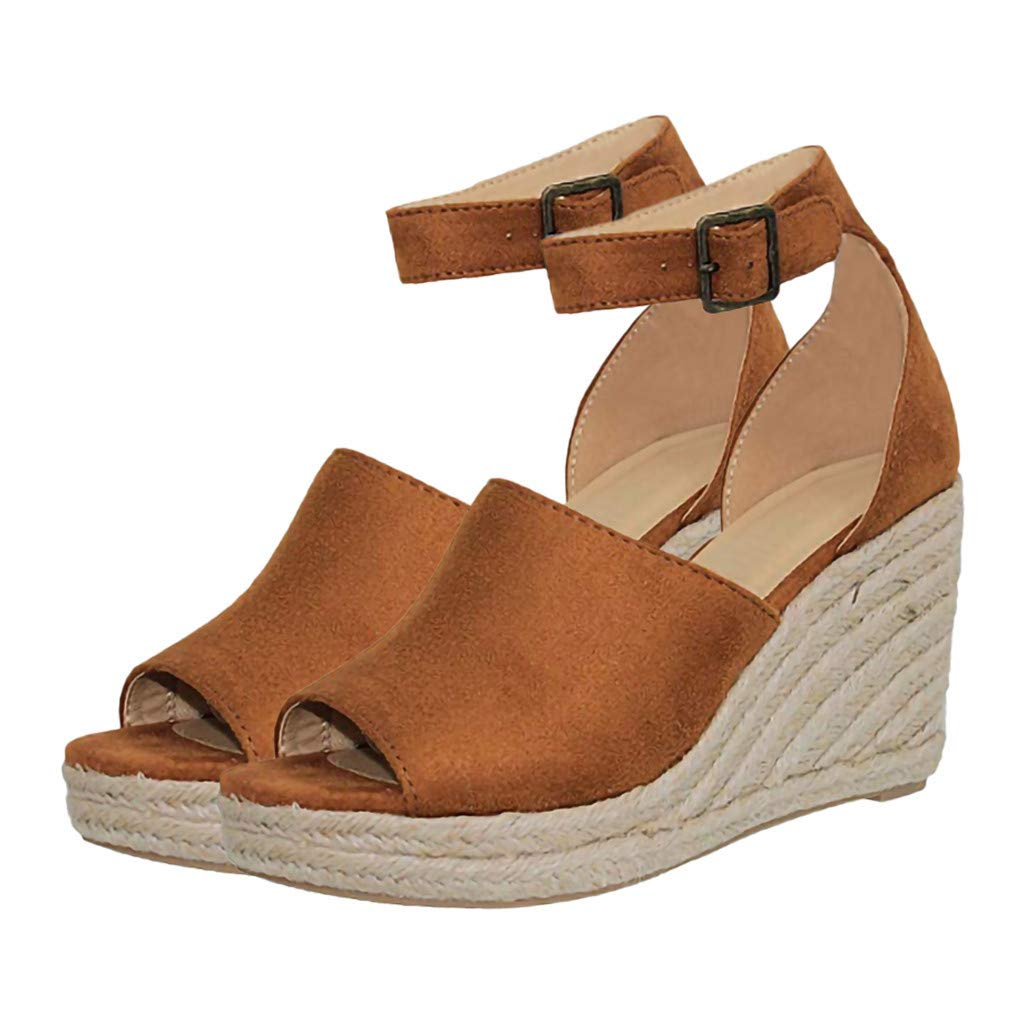 Thenxin Womens Ankle Strap Buckle Wedges Sandals Fish Mouth Lady Breathable Comfy Shoes (Brown,7 US)