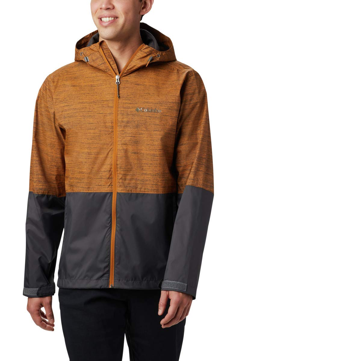 Columbia Men's Roan Mountain Jacket, Burnished Amber Texture Print, Shark, Small by Columbia