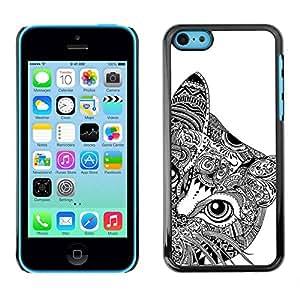 Paccase / SLIM PC / Aliminium Casa Carcasa Funda Case Cover - Art Black White Drawing Eyes - Apple Iphone 5C