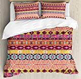 Aztec Queen Size Duvet Cover Set by Lunarable, Colorful Cultural Art Borders Vintage Figures Abstract Rich Motifs Mayan Mexican, Decorative 3 Piece Bedding Set with 2 Pillow Shams, Multicolor