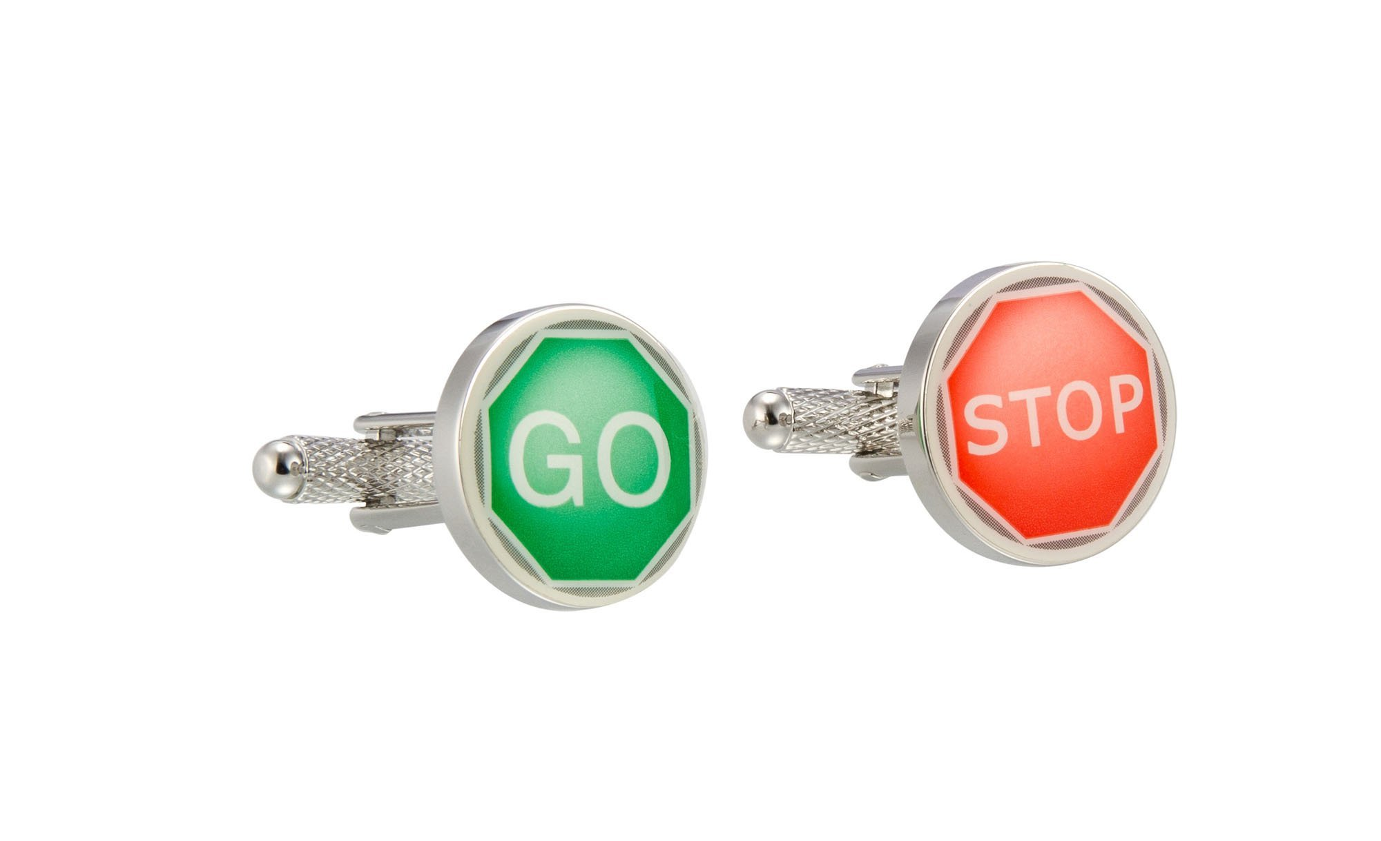 Knighthood Men's Red & Blue Silver Plated Stop & Go Direction Cufflinks Red & Blue