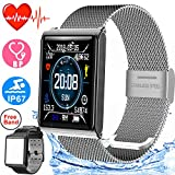 Smart Watch IP67 Waterproof Sport Fitness Tracker for Women Men with 1.5'' HD Screen Blood Pressure Heart Rate Monitor Pedometer Calorie Wristband Watch Swim Run Outdoor Activity Tracker iOS Android