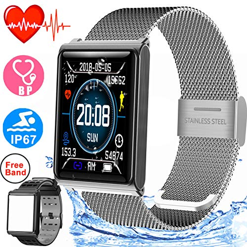 Smart Watch IP67 Waterproof Sport Fitness Tracker for Women Men with 1.5'' HD Screen Blood Pressure Heart Rate Monitor Pedometer Calorie Wristband Watch Swim Run Outdoor Activity Tracker iOS Android by Duperym