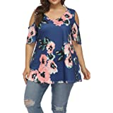 Allegrace Women's Plus Size Floral Printing Cold Shoulder Tunic Top Short Sleeve V Neck T Shirts