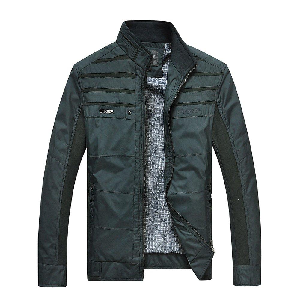 Liveinu Men's Stripe Pattern Stand Collar Windbreaker Jacket Dark Blue M