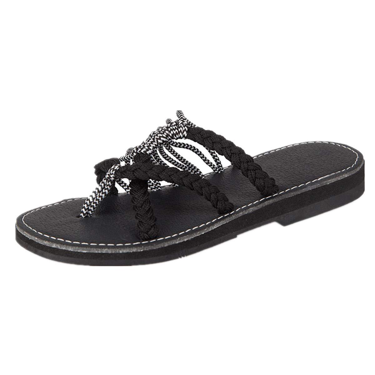 GOFIVE B01JARXZU0 Sandales Plates pour Femmes Été Slip Toe Chaussures Tongs Slip Tongs De Plage Chaussures Pantoufles en Plein Air Noir Blanc 75ac762 - fast-weightloss-diet.space