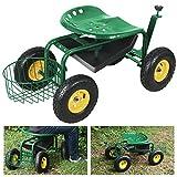 Yaheetech Green Heavy Duty Garden Cart Rolling Work Seat w/ Tool Tray Gardening Planting Yard For Sale