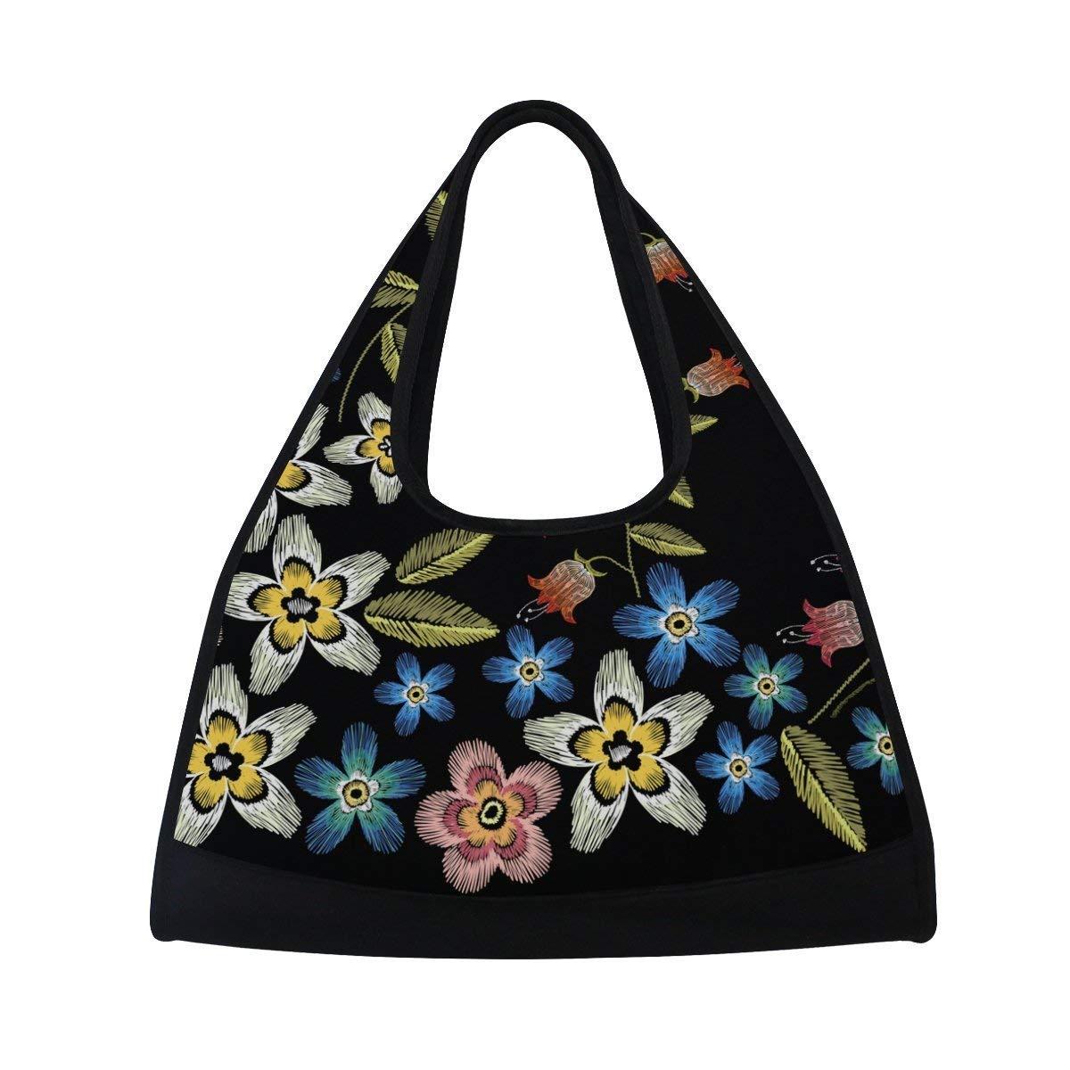 39fb5d472cdb Amazon.com: OuLian Sport Gym Bag Flower Leaf Canvas Travel Duffel ...
