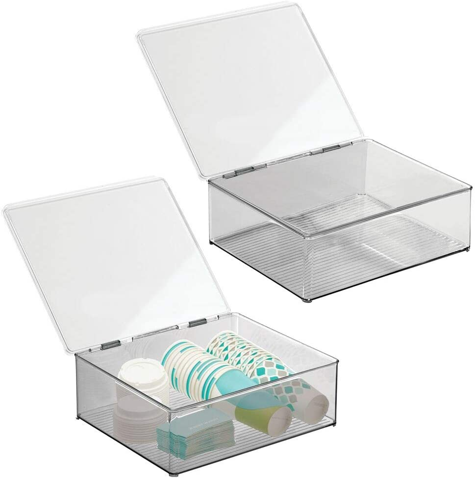 mDesign Plastic Stackable Kitchen Pantry Cabinet/Refrigerator Food Storage Container Bin, Attached Lid - Organizer for Coffee, Tea, Packets, Snack Bars - BPA Free, Food Safe, 2 Pack - Clear/Smoke Gray