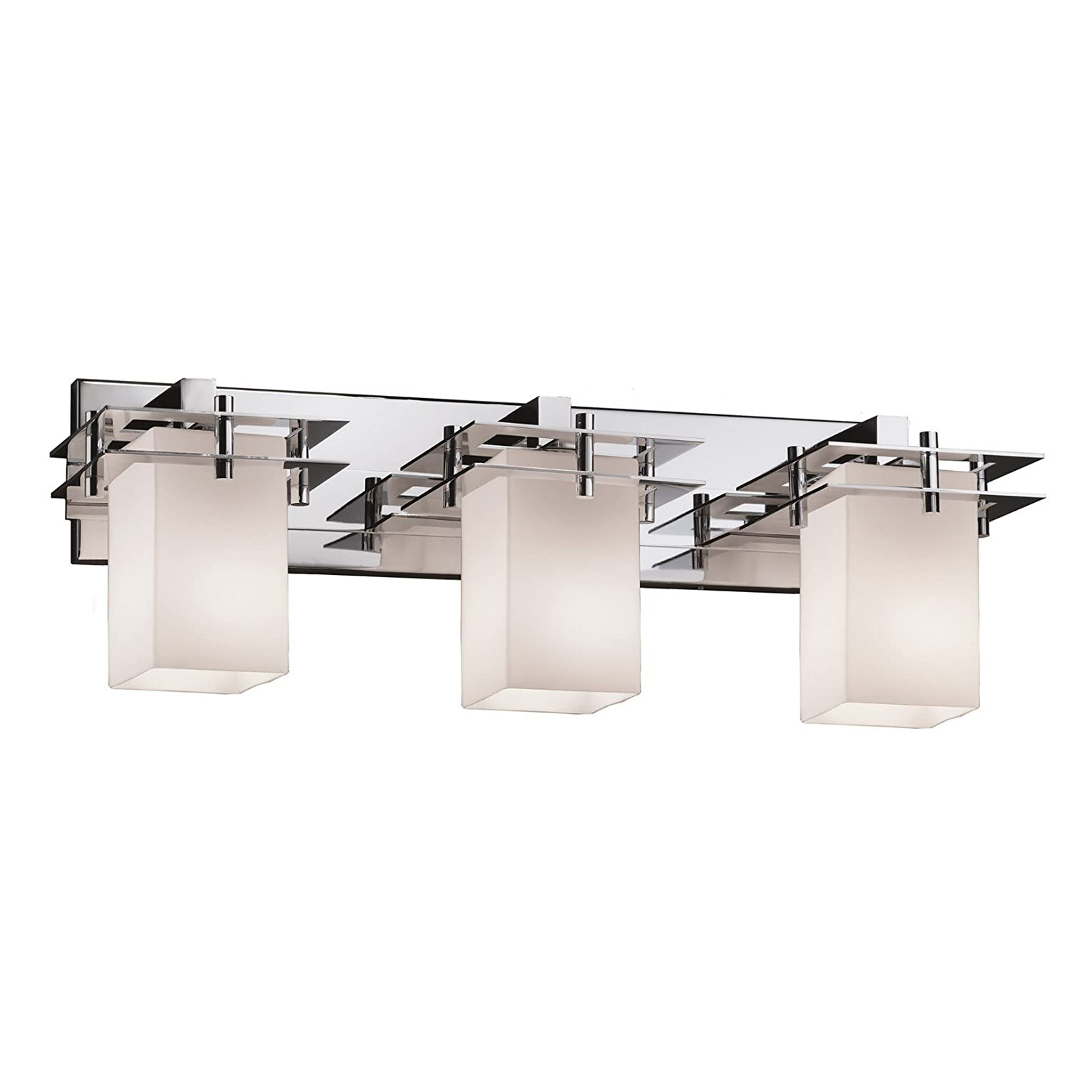 Justice Design Group Fusion 3-Light Bath Bar Brushed Nickel Finish with Opal Artisan Glass Shade