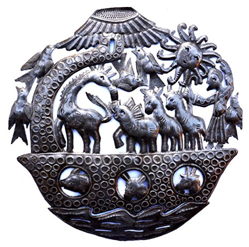 "Noah Ark Wall Sculpture, Metal Wall Art, Fair Trade From Haiti, 15"" X 15"""