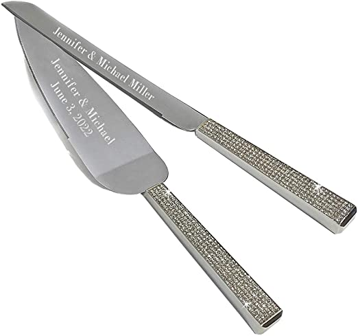 Amazon Com Personalized All Things Weddings Wedding Ceremony Glitter Galore Wedding Cake And Knife Server Set Cake Cutter With Knife Silver And Glitter Engraved With Your Names And Wedding Date Cake Pie