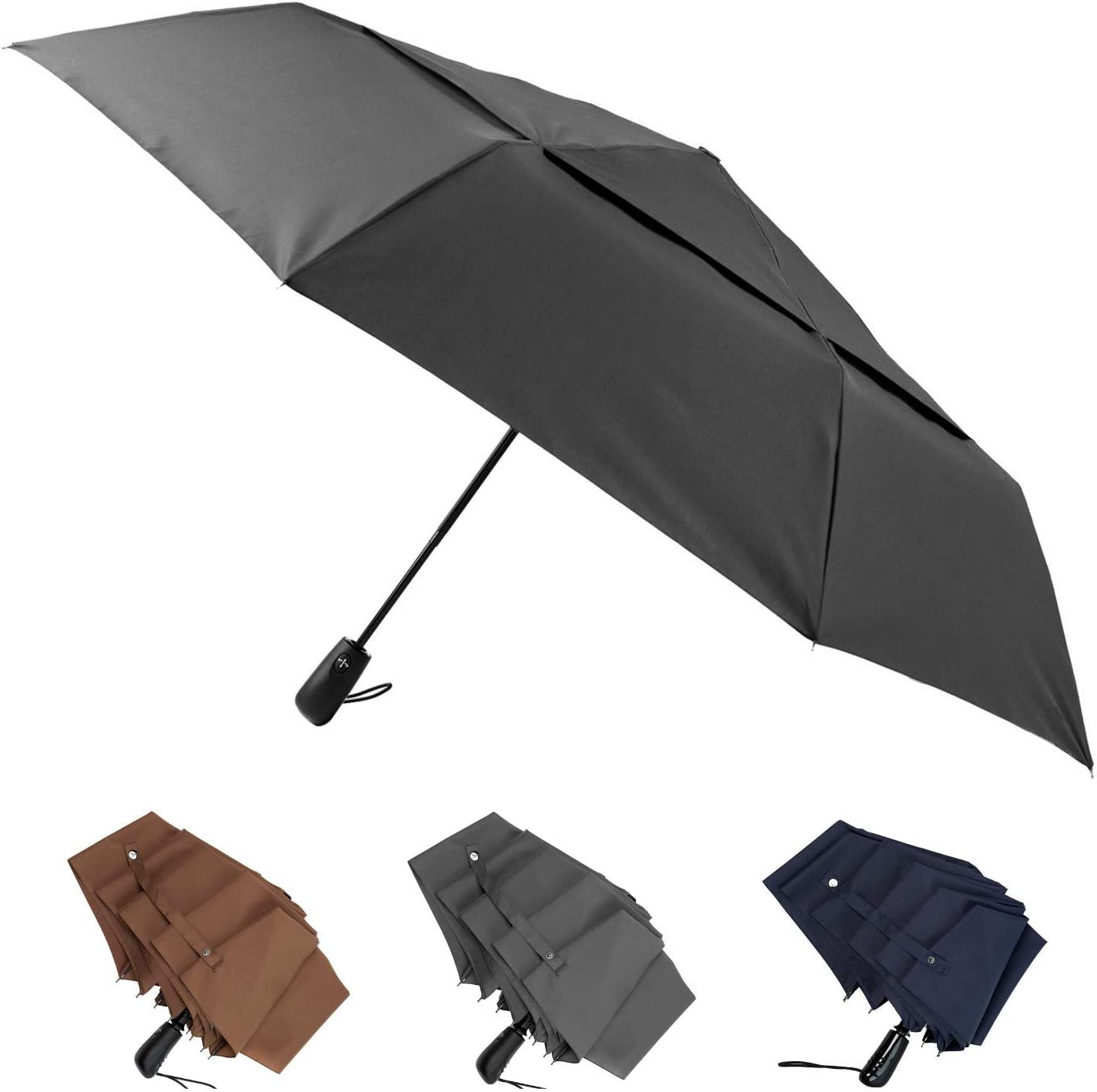 Blue 54 Inch Canopy Big Enough To Fit In 2 Adults Large Windproof Umbrella Folds Into Portable Travel Size Auto Open Close and Patented Vortex System For Superior Safety And Durability