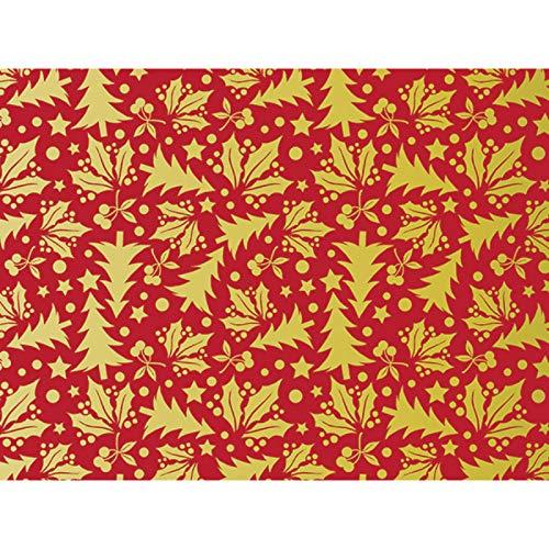 Metallic Golden Holly 30'' x 150' Gift Wrap Roll