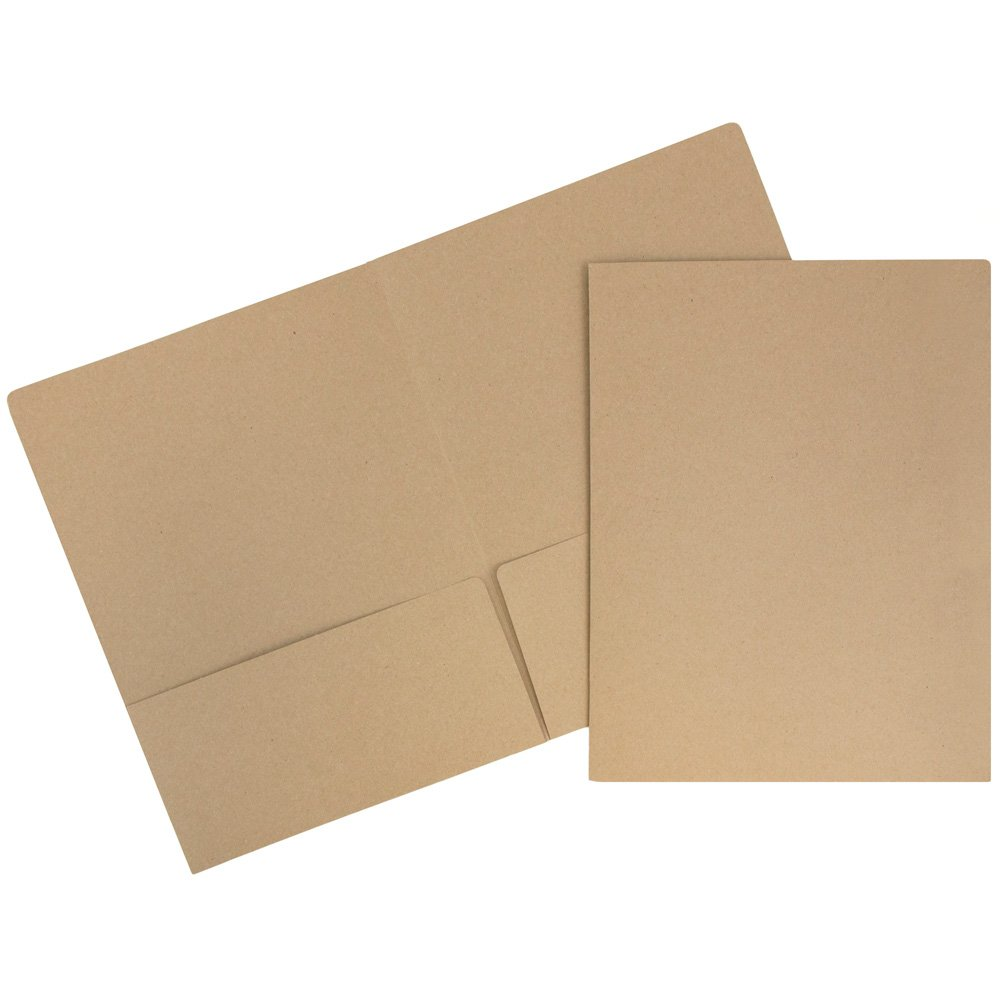 JAM PAPER Premium Matte Cardstock Twin Pocket Folders - Recycled Brown Kraft Paper Bag - Bulk 50/Box