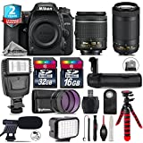 Holiday Saving Bundle for D7500 DSLR Camera + AF-P 70-300mm VR Lens + AF-P 18-55mm + Battery Grip + Shotgun Microphone + LED Kit + 2yr Extended Warranty + 32GB Class 10 - International Version