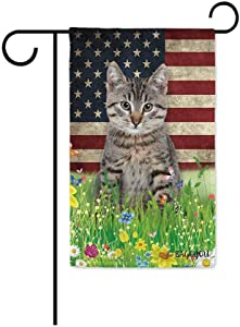 BAGEYOU Cute Kitty Cat Garden Flag Lovely Pet Kitten American US Flag Wildflowers Floral Grass Spring Summer Decorative Patriotic Banner for Outside 12.5x18 inch Printed Double Sided