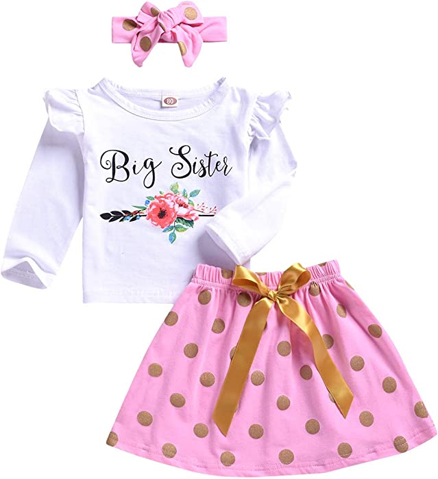 15b09df20c Toddler Baby Girls Clothes Little Big Sister Flower T-Shirt Romper Top  Pants Outfit Set