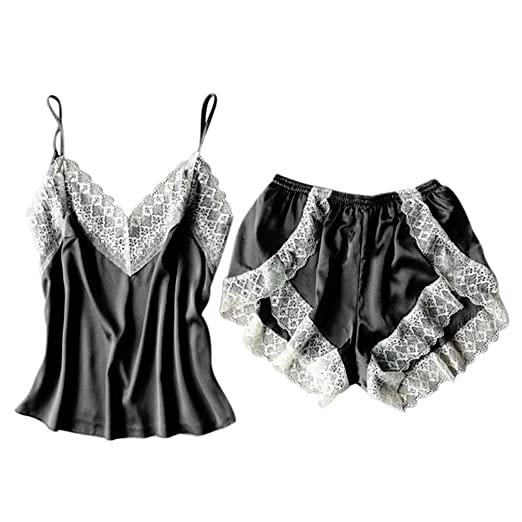 cba09cb441 Two Piece Sexy Babydoll Lace Sleepwear Cozy Satin Lingerie Underwear  Temptation Camisole+Shorts Set (