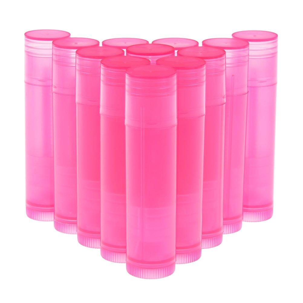 Peerless 48-piece vuoto labbro balsamo contenitori + 1foglio adesivo etichette plastica traslucida Chap stick tubi con tappo superiore e inferiore per Twist, base essenziale bottiglie per fai da te, rosa, 5.5ml (3/453,6gram) Attractive beauty