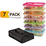 Meal Prep Containers,7 pack Lunch Boxes,Food Storage with lids,BPA Free Bento Lunch box Set with 3 Seperated Compartments,Leak Proof,Resuable,Stackable,Microwaveable,Freezer and Dishwasher Safe