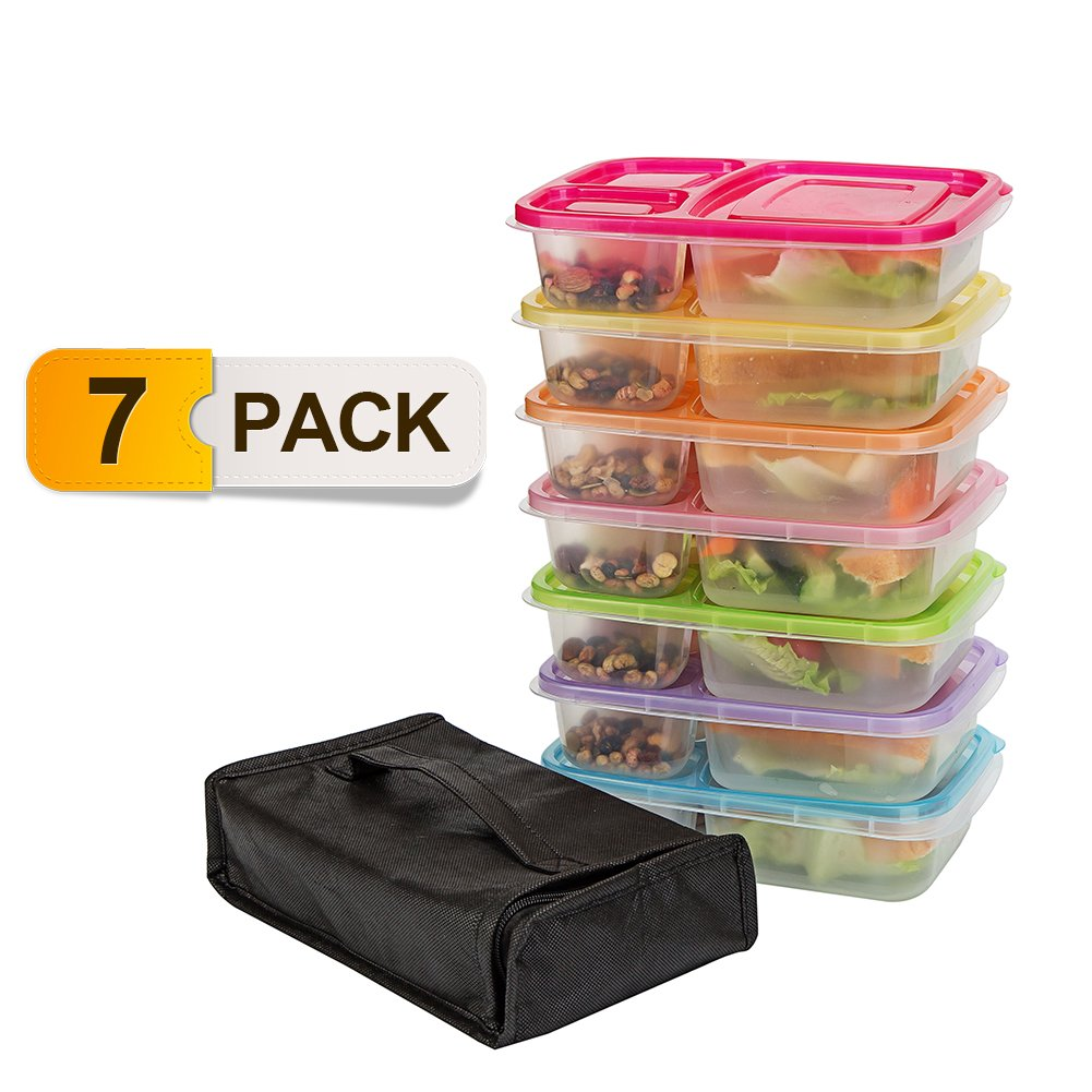 Meal Prep Containers,7 Pack Lunch Boxes, Food Storage With Lids, BPA Free Bento Lunch Box Set With 3 Separated Compartments, Leak Proof,Resuable,Stackable,Microwaveable,Freezer And Dishwasher Safe