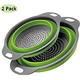2 pezzi Scolapasta in Silicone Pieghevole BSVLIA Silicone Filtro Cucina In Silicone Pieghevole Cestino per Cucina Domestica O Campeggio (Verde)