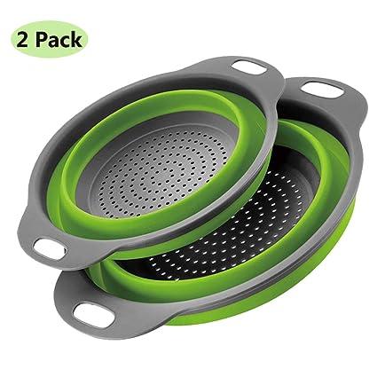 2 piezas Cocina Plegable Colador de Silicona Colador Plegable Cesta de Frutas  Coladores Cocina Respetuosos del f3837ef48f73