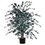 Vickerman 4' Artificial Frosted Maple Bush set in Rattan Basket