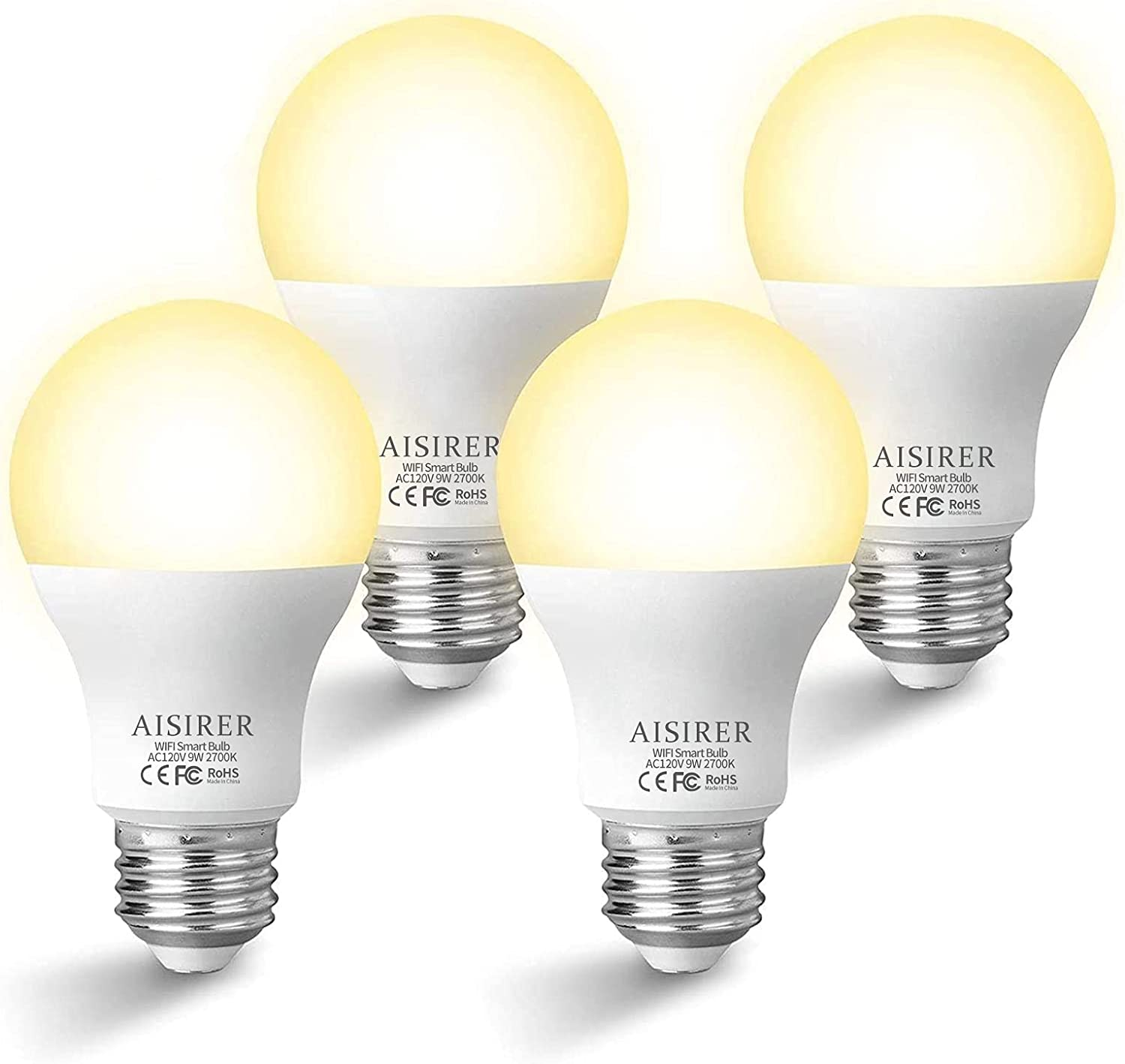 Smart Light Bulbs That Work with Alexa and Google Home, 9W AISIRER Smart Bulbs, WiFi Dimmable Warm White A19 E26 2700K LED Lights Bulbs, 806 Lumen, 80W Equivalent, No Hub Required, 4 Pack