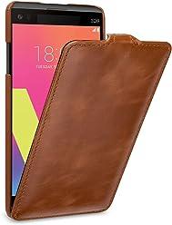 StilGut UltraSlim Case, Custodia di Pelle per LG V20 Originale. Flip-Case Sottile Verticale in Pura Pelle, Nero