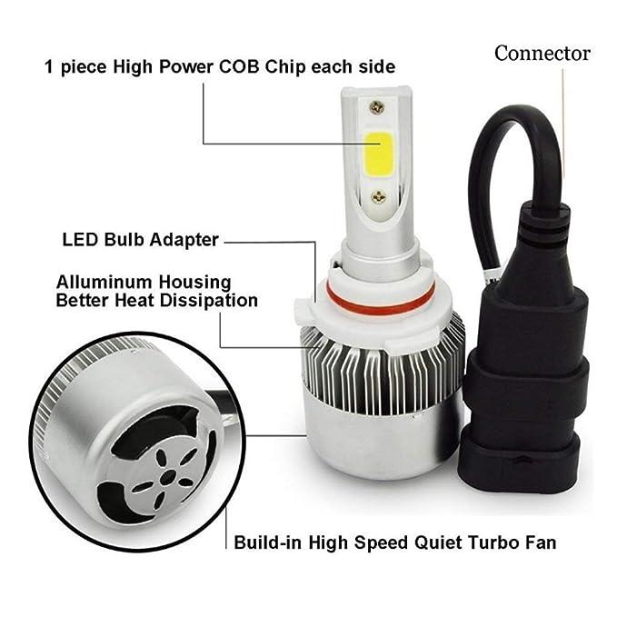 Juego de 2 bombillas LED de conversión todo en uno para faros delanteros, 7600 lm, 72 W, 6000 K, luz blanca fría muy resistente al agua Ipx67, ...