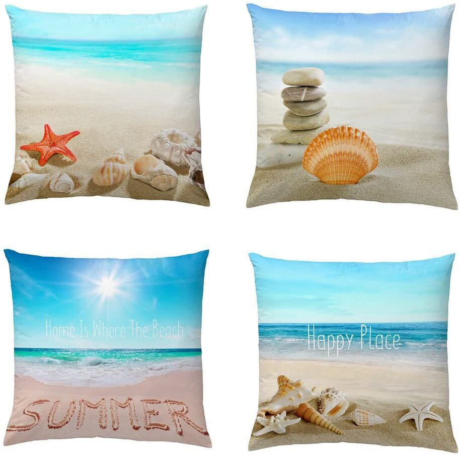 Wonder4 Decorative Throw Pillow Covers Set of 4 Cotton Linen Cushion Covers 18 x 18 inch Throw Pillow Case Home Decor Patio Pillow Cover with Conches, Starfishes, Stones, Sunshine, Sea, Beach Pattern