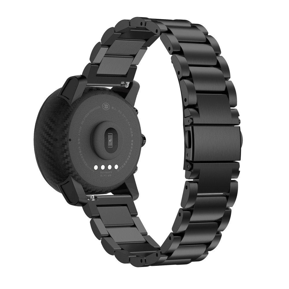 JiaMeng Pulsera Ligera de Acero Inoxidable de Moda Correa de Reloj de Acero Inoxidable con Cierre de Metal para HUAMI Amazfit Stratos 2(Negro): Amazon.es: ...