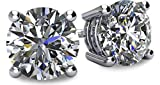 NANA 14k Gold Post & Sterling Silver 4 Prong CZ Stud Earrings -Platinum Plated-10.0mm-8.00cttw