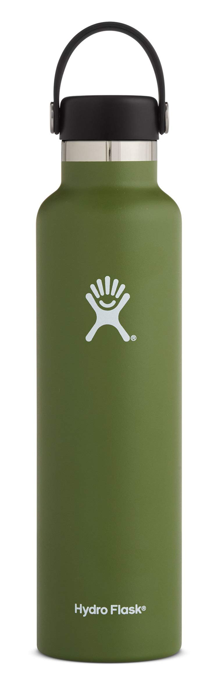 Hydro Flask Water Bottle - Stainless Steel & Vacuum Insulated - Standard Mouth with Leak Proof Flex Cap - 24 oz, Olive by Hydro Flask