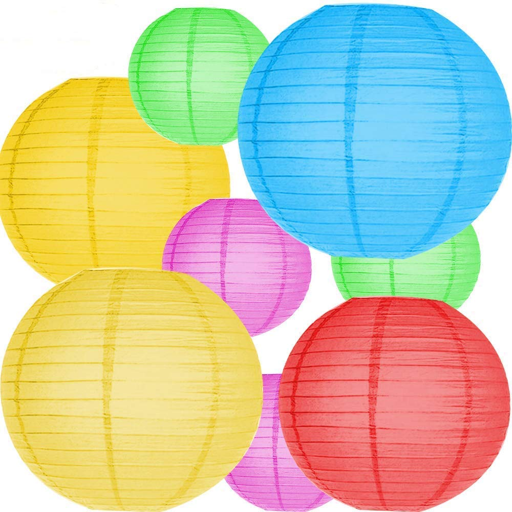 10Pcs Colorful Paper Lanterns, Chinese/Japanese Paper Hanging Decorations Ball Lanterns for Home Decor, Parties, and Weddings YUAN