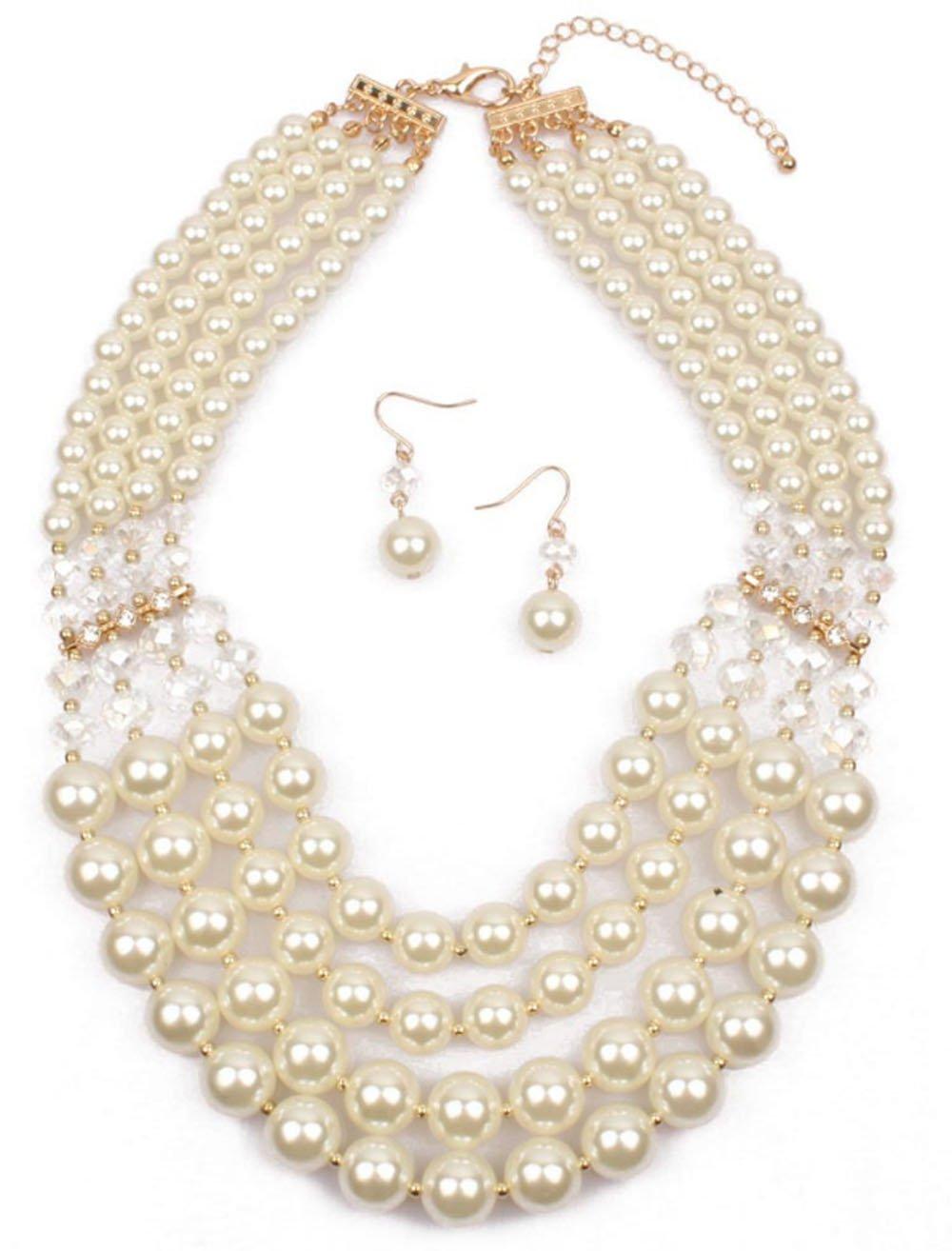 Shineland Elegant Multi-Strand Pearl Glass Crystal Cluster Collar Bib Choker Necklace EarringSets (4 Layered White)