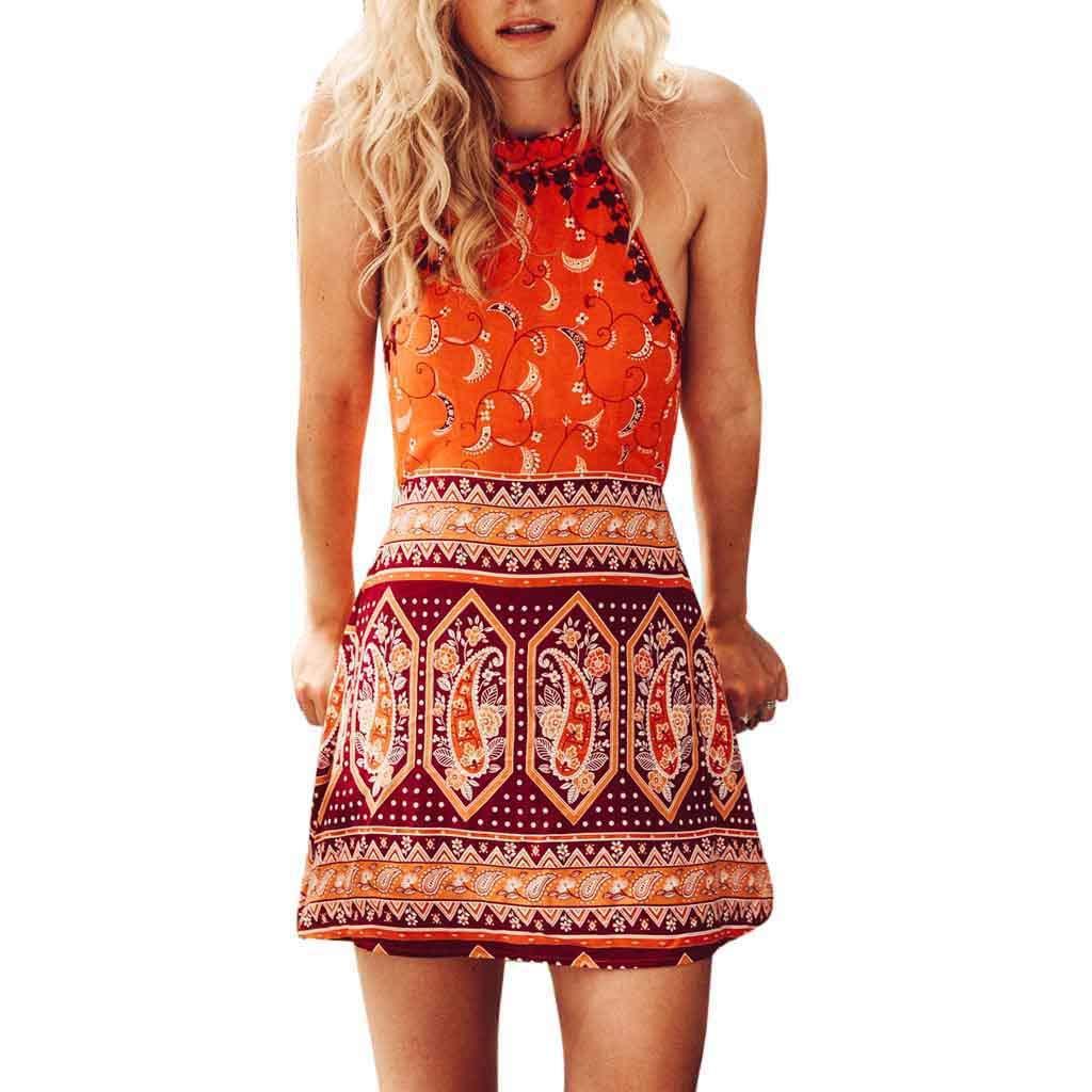 TWIFER Boho Kleid Halfter Gedrucktes Kurzes Kleid Sommer Strandkleid Ärmellos Spitzenkleid Ballkleid Retro Rockabilly Sommerkleid Elegant Vintage Kleider