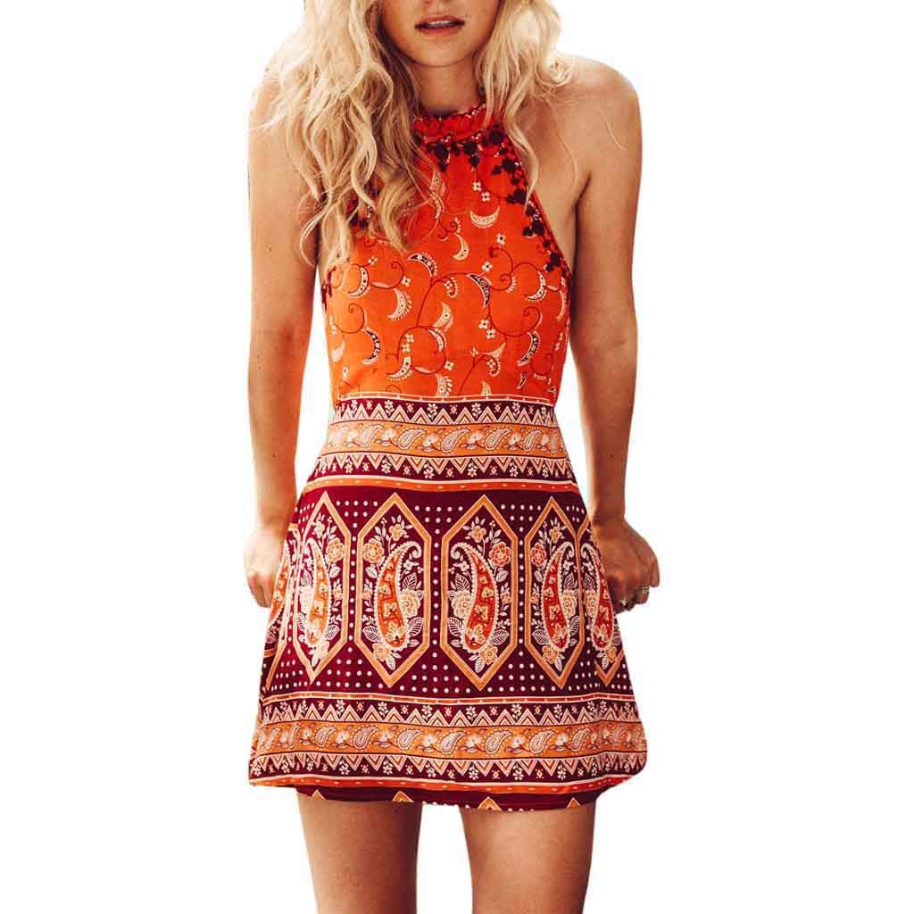 VECDUO Women's Boho Halter Sleeveless Printed Short Summer Beach Mini Dresses Orange
