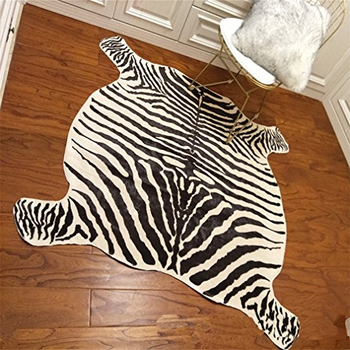 (Area Rug Faux Zebra Print, Rug 4.9x4.6 Feet Animal Rug/Mat/Carpets Home,Living Room, Office ,Yellowish Cream Color)