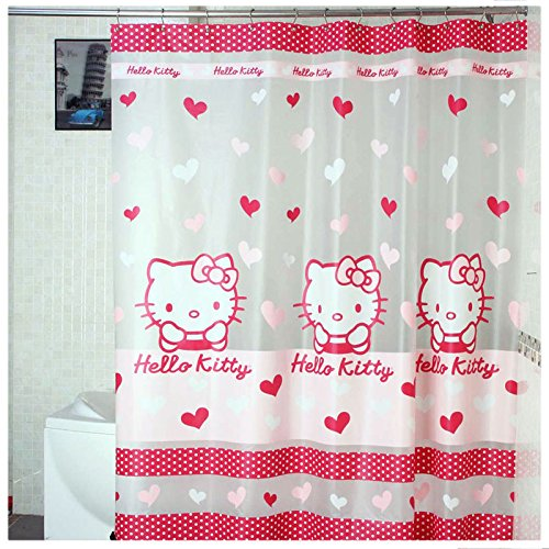 180x180cm Hello Kitty Shower Curtain Transparent Bathroom Cartoon Fabric Waterproof Cortina Ducha